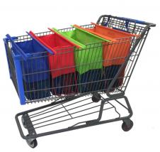 Sacolas em TNT que se interligam e se adaptam ao carrinho do supermercado